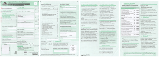 DVLA driving licence application form all 4 pages side by side