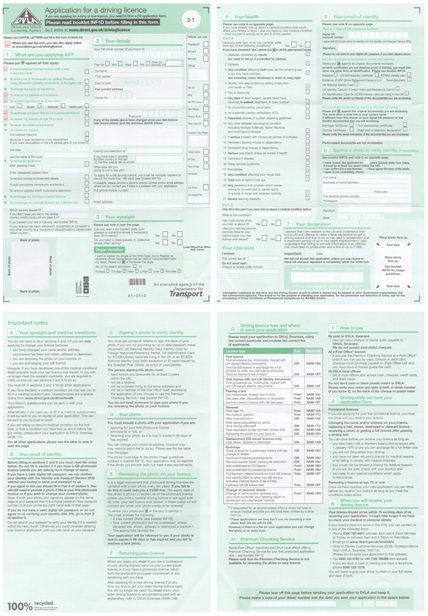 DVLA driving licence application form all 4 pages