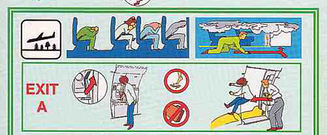 example of an airline safety card infographic