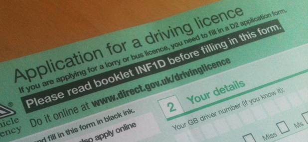 UK driving licence application form D1 with instructions referring to extra booklet