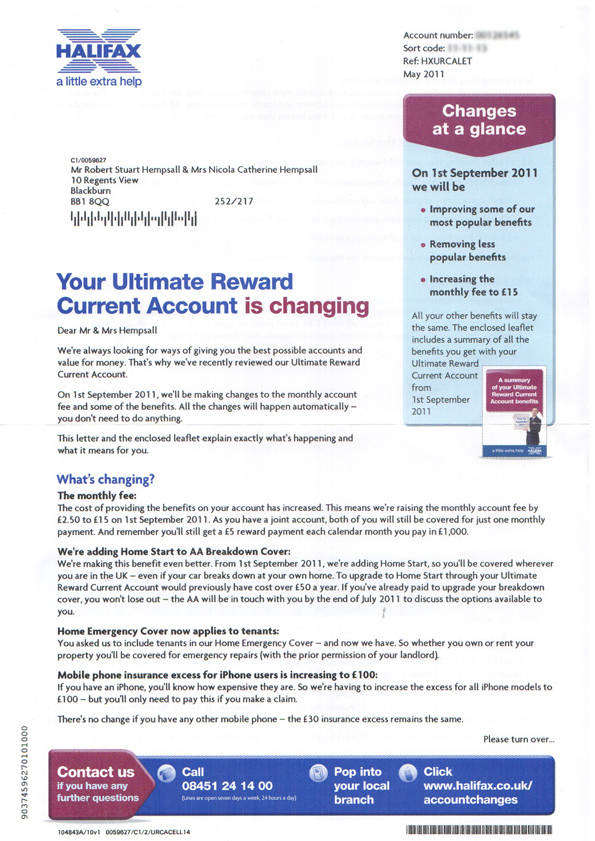 Redesign of Halifax letter about account changes – robert hempsall