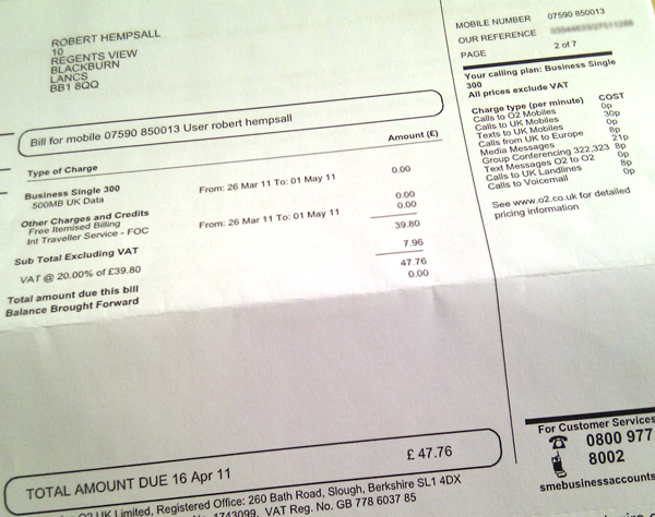 o2 bill with the total on page 2