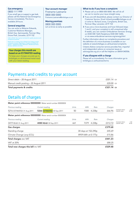Back of new British Gas Business bill design