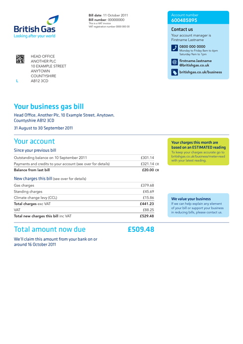 Front of new British Gas Business bill design