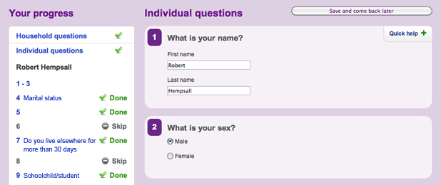 UK census online questions labelled