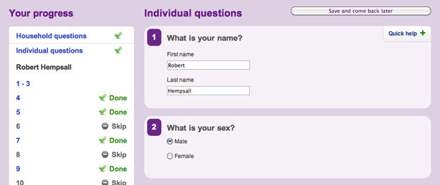 UK census online questions