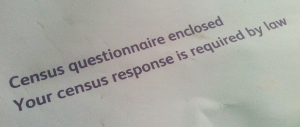text from the envelope for UK Census form, stating that a response is required by law