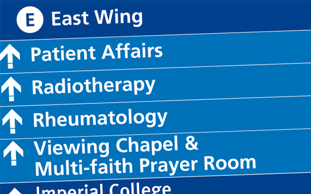 directional signage to help people find the departments they need from within the wing
