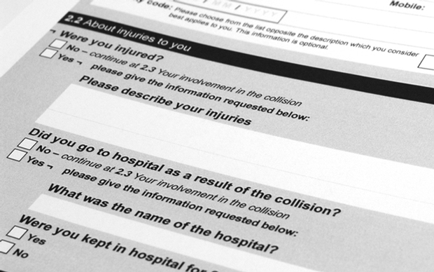 question layout on the redesigned Department for Transport collision form, guiding users through questions