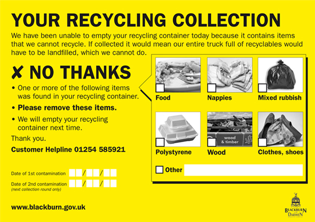Label to tell people when they have put the wrong type of items in their recycling bin
