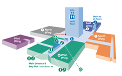 wayfinding diagram to help visitors and patients navigate round Charing Cross Hospital